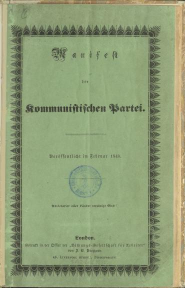 Titelblatt Manifest der Kommunistischen Partei.