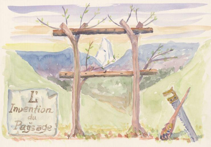 Lucius Burckhardt, L'Invention du paysage, Aquarell auf Papier