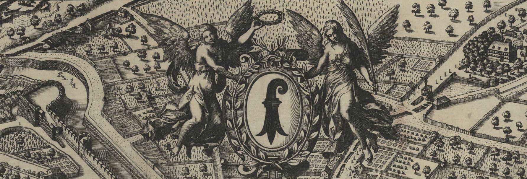 Basler Wappen auf dem Stadtplan von Matthäus Merian (1618)