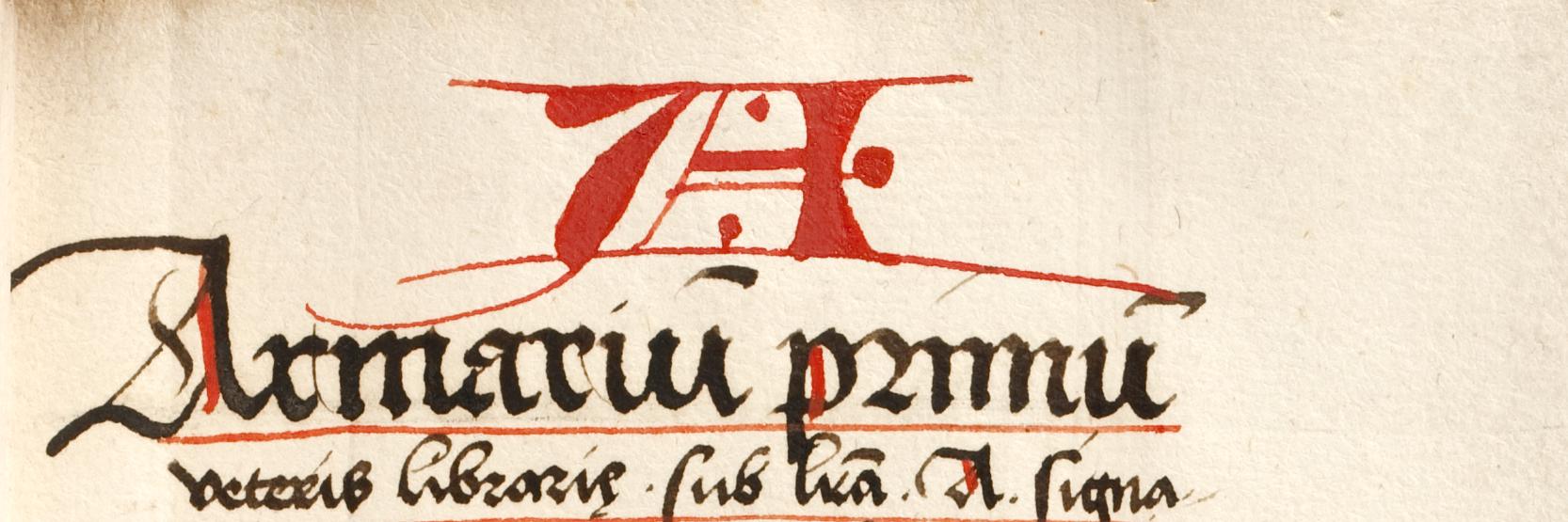 Standortkatalog der sogenannten Bibliotheca antiqua, ca. 1520.