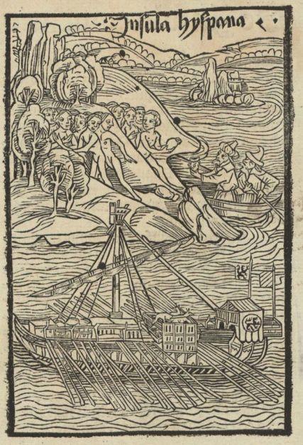 Columbus landet auf der Insel Hyspana (Haiti) und wird von der indigenen Bevölkerung begrüsst.