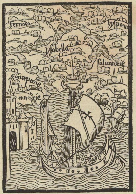 Entdeckte Inseln auf der ersten Fahrt von Columbus und: Das erste Abbild Amerikas!